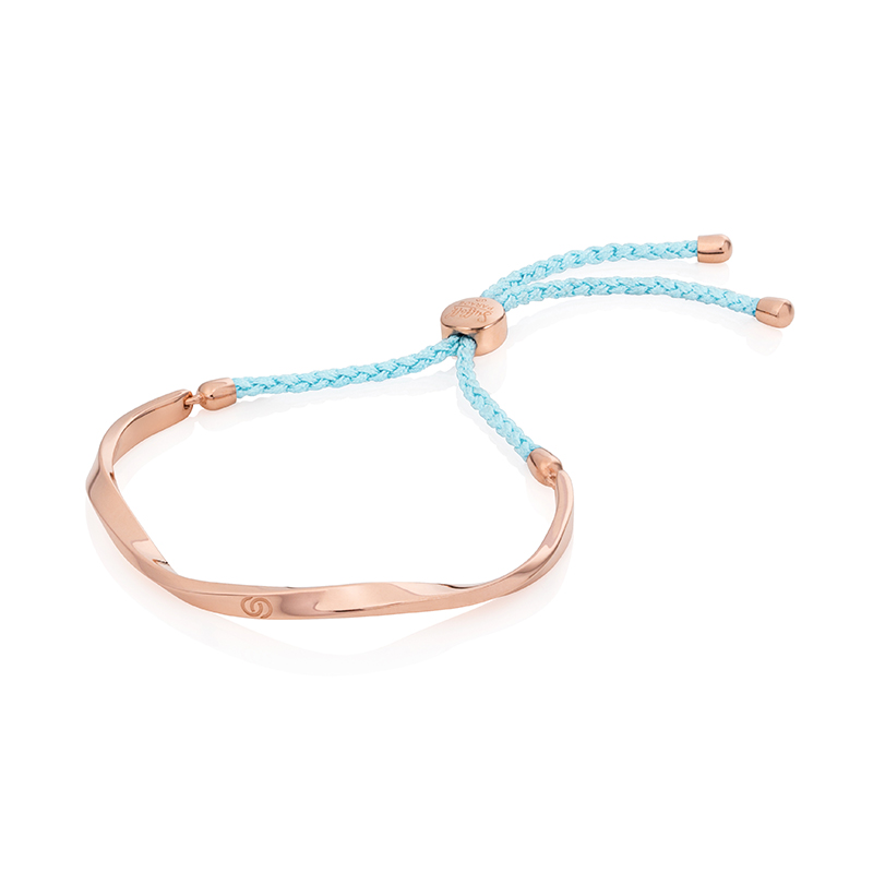 Aqua Blue & Rose Gold Friendship Bracelet