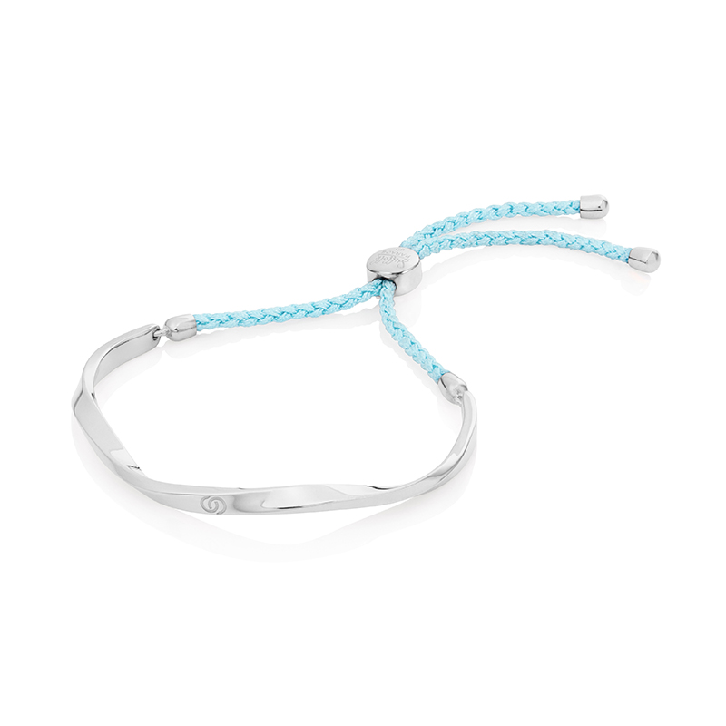Aqua Blue & Silver Friendship Bracelet