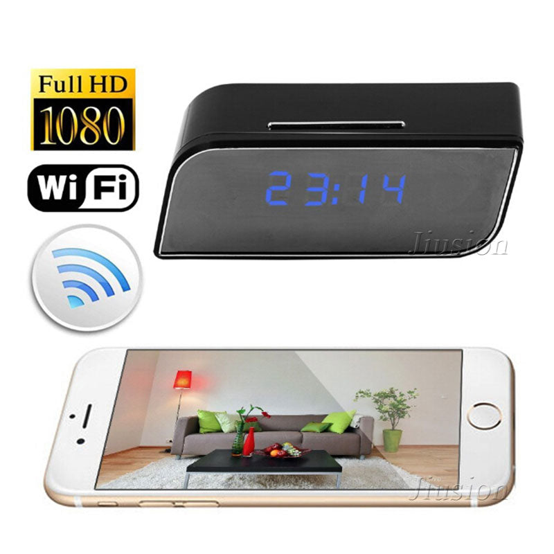 WiFi Mini Clock Camera 1080P HD Video Audio Recorder Camcorder Night Vision Motion Sensor Movement Alarm Mobile Remote Micro Cam