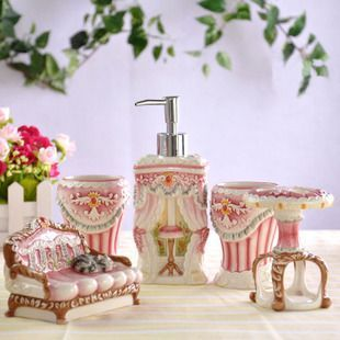 Ceramic Hand Painting Bathroom Accessories Set