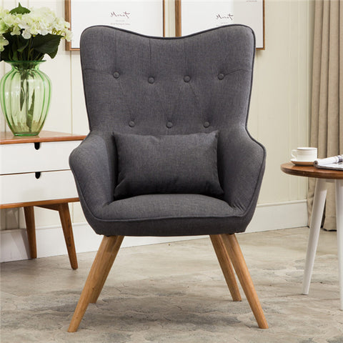 Mid Century Modern Style Wooden Leg Armchair Sofa with Linen Upholstery for Living Room Bedroom