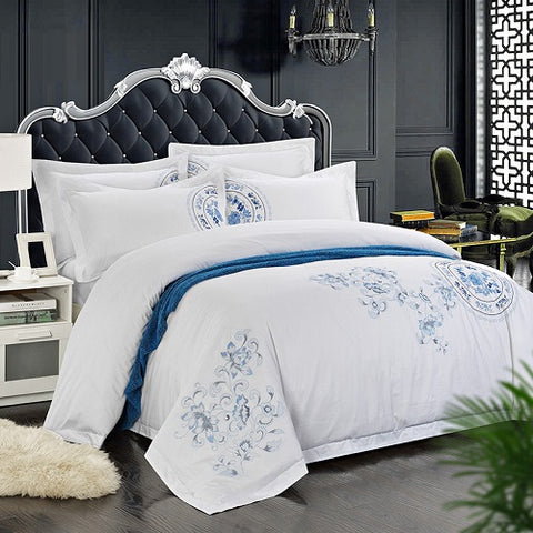 60S Egypt Cotton Oriental Embroidery White Color Hotel Bedding sets King Queen size  Bed set Duvet cover set Bedsheet Wholesale
