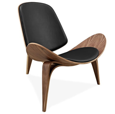 Hans Wegner Style Three-Legged Shell Chair Ash Plywood Black Faux Leather Living Room Furniture Modern Shell Chair
