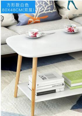 80*48*49CM Double-Layer Modern Wood Coffee Table Rectangle Sofa Side Table Living Room Corner Table
