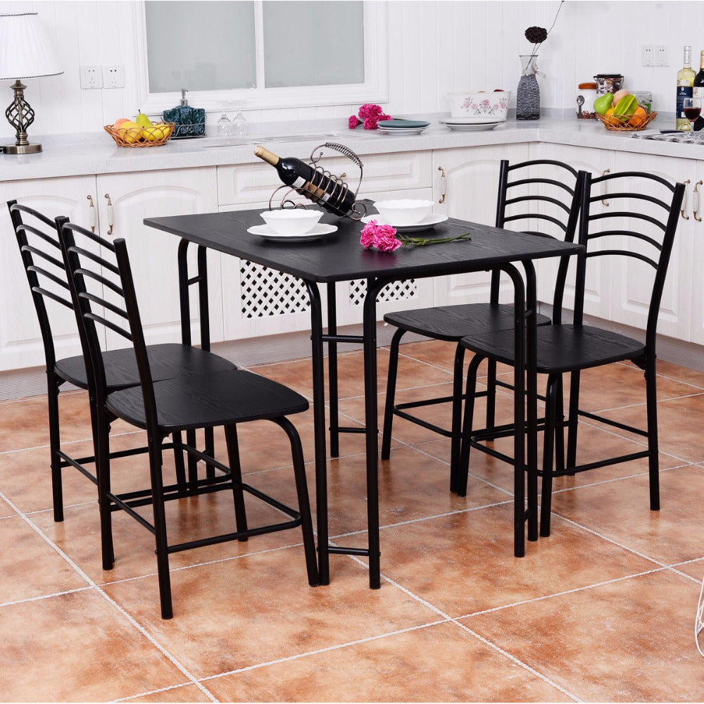 5 Piece Black Dining Table Set