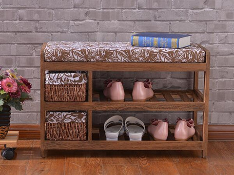 Cushioned Shoe Rack With Two Storage Baskets