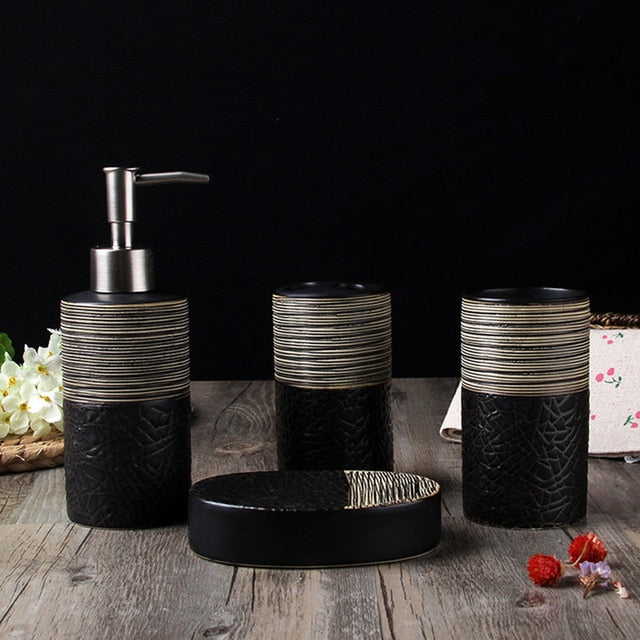 4 Piece Ceramic Bathroom Decoration Accessory Set