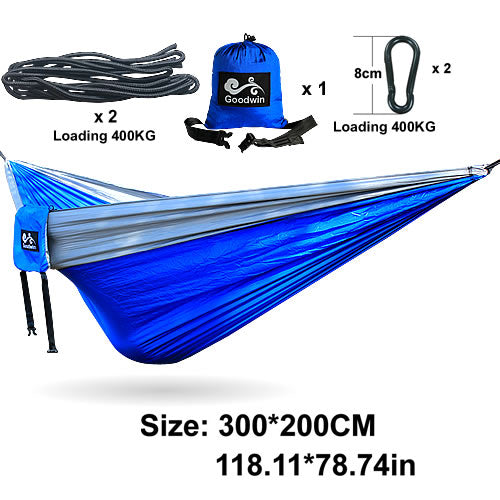 Blue and Gray Outdoor Double Hammock