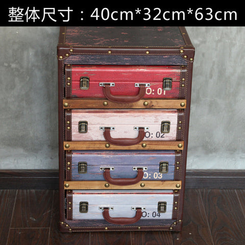 Retro Suitcase Styled Chest of Drawers Vintage Living Room Side Storage Cabinet