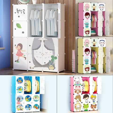 12 Doors Plastic Children Storage and Hanging Rack Cabinet