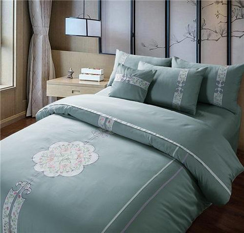 4/6pcs 60S Egypian Cotton soft Bed sheet set Oriental Embroidered Chinese style Bedding set Queen King size Duvet cover set Beds