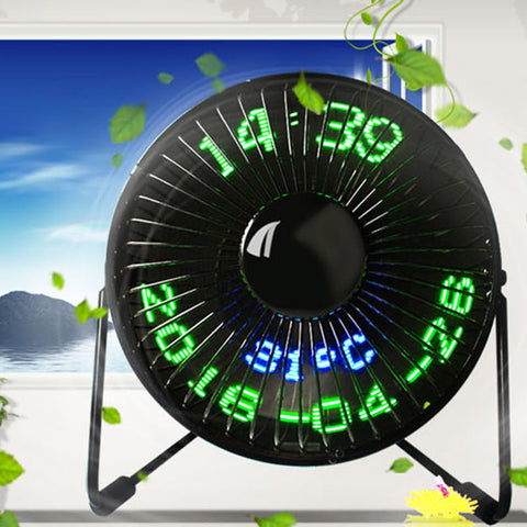 USB LED Clock Mini Fan w. Real Time Temperature
