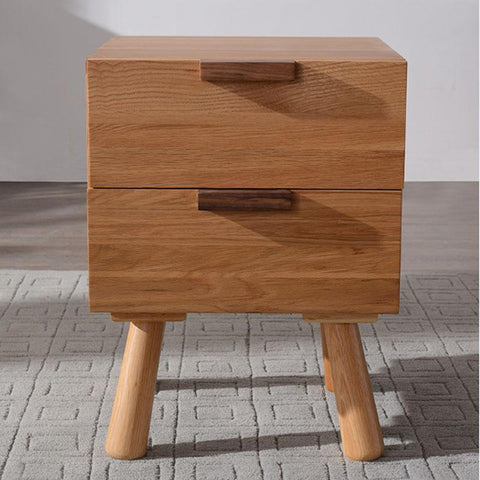 White Oak Wood Bedside Stand Drawer Cabinet