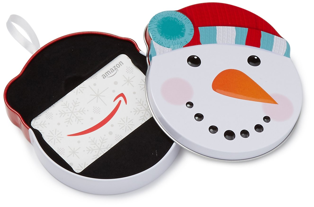 Amazon.com Gift Card in a Snowman Tin