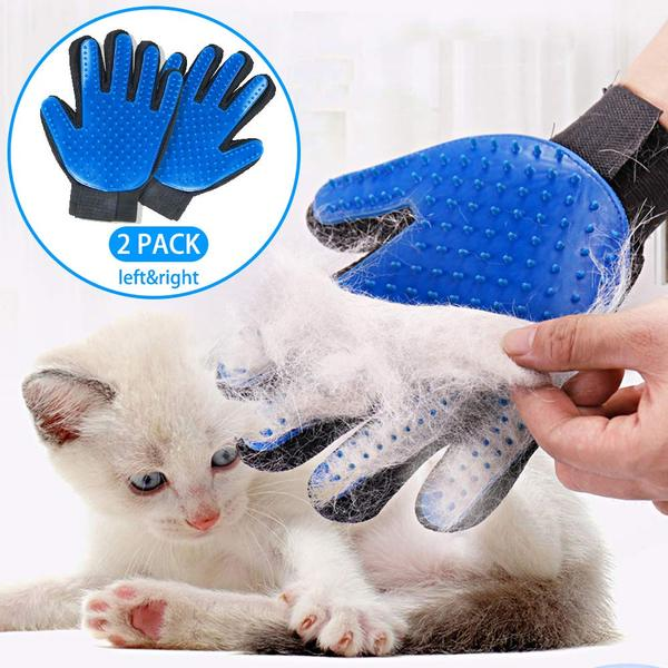 Pet Grooming Glove Hair Remover Gentle Deshedding Pet Massage Gloves