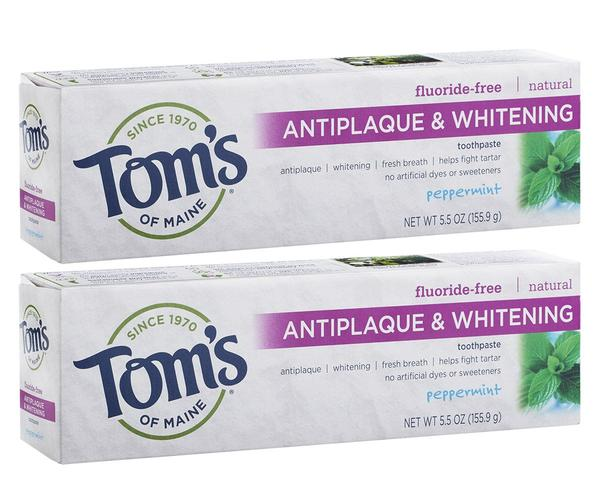 Tom's of Maine Antiplaque and Whitening Fluoride-Free Toothpaste, Pack of 2