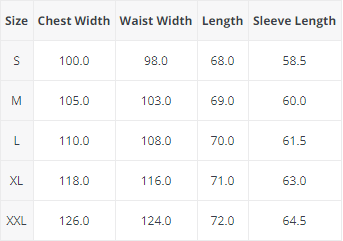 Size Chart in CM