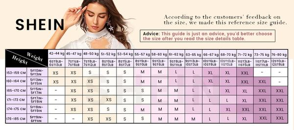 Shein dress size chart