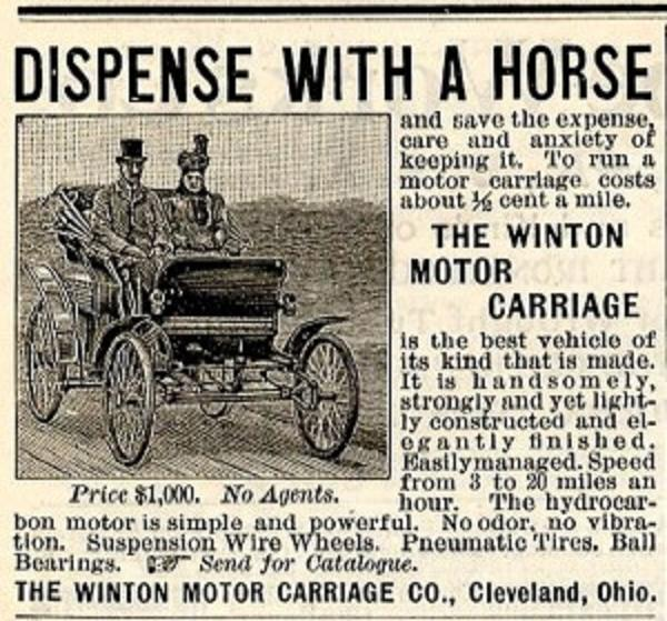 The Winton Motor Carriage Newspaper Ad