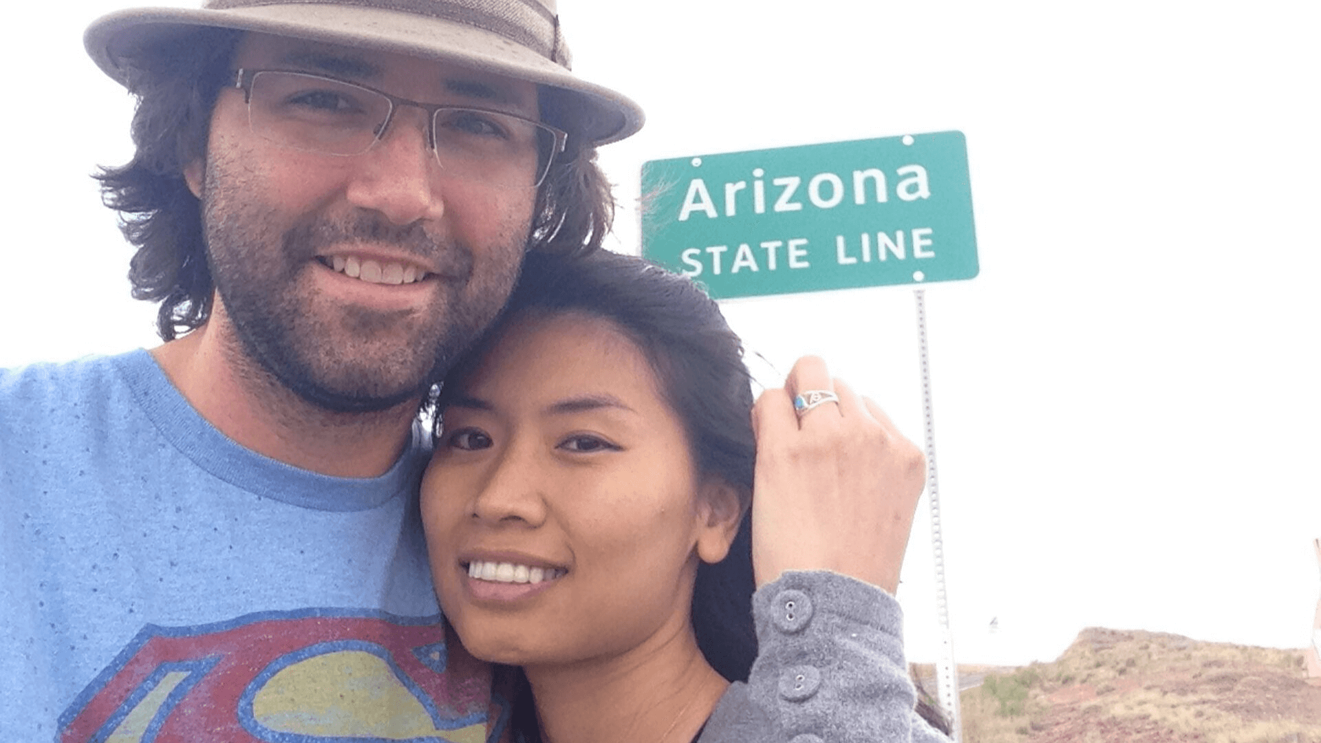 Newly Engaged at Arizona State Line
