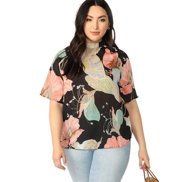 SHEIN Plus Size Mock-Neck Keyhole Back Floral Print Blouse