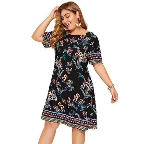SHEIN Plus Size Geometric And Floral Print Boho Dress