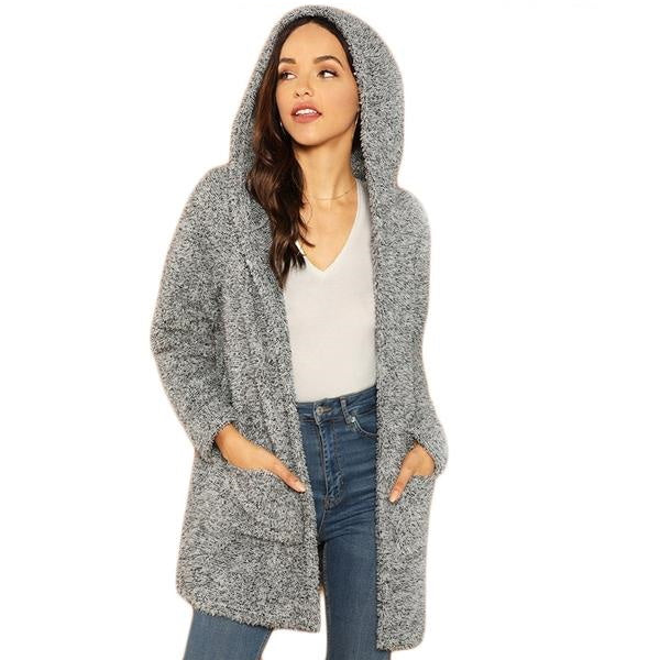 SHEIN Gray Casual Pocket Hooded Jacket