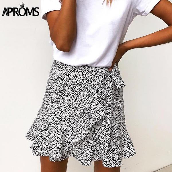 Aproms Dot Print Short Mini Skirt