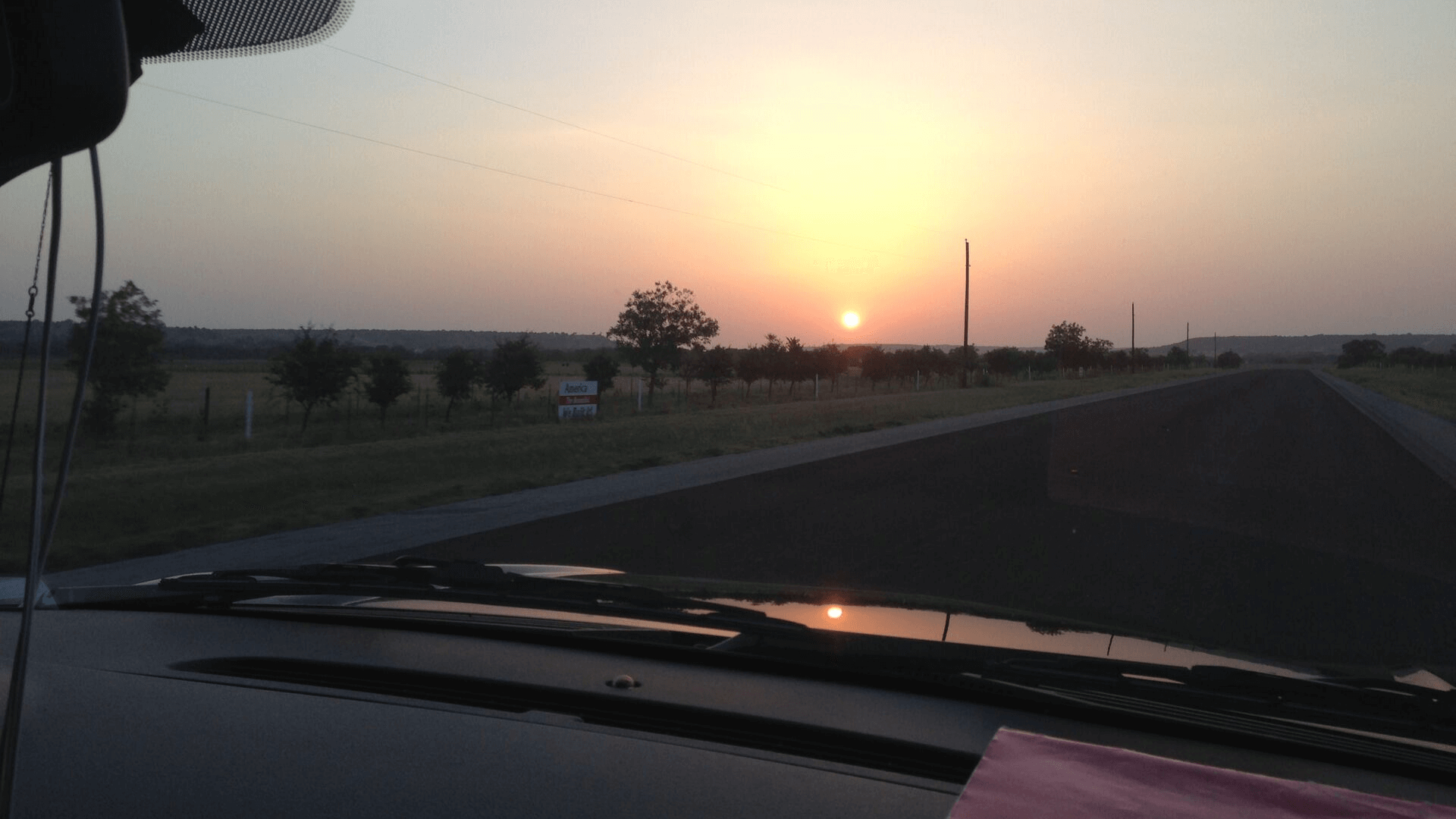 Sunset drive somewhere in Texas