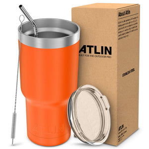 Atlin Tumbler [30 oz. Double Wall Stainless Steel Vacuum Insulation] Travel Mug [Crystal Clear Lid] Water Coffee Cup [Straw Included]