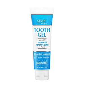 American Biotech Labs - Silver Biotics - Tooth Gel - Naturally Promotes Healthy Gums and Teeth - SilverSol Infused - Triple Action Glacial Mint with Xylitol and Peppermint Oil - 4 oz.