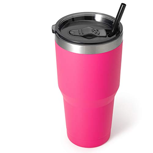 Zibtes 30oz Insulated Tumbler With Lids and Straws, Stainless Steel Double Vacuum Coffee Tumbler Cup, Powder Coated Travel Mug