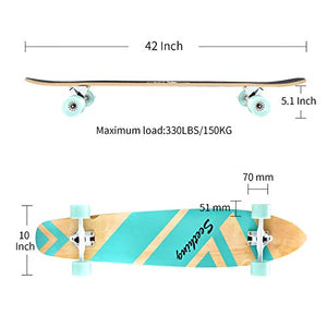 42 Inch Longboard Skateboard Complete Cruiser,The Original Artisan Maple Skateboard Cruiser for Cruising, Carving, Free-Style and Downhill