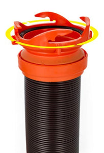 Camco 20' (39742) RhinoFLEX 20-Foot RV Sewer Hose Kit, Swivel Transparent Elbow with 4-in-1 Dump Station Fitting-Storage Caps Included