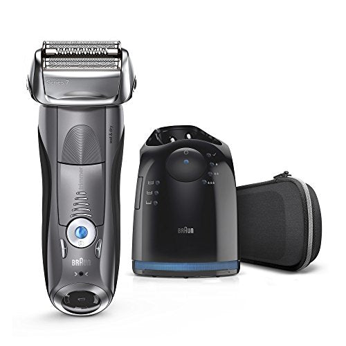 Braun Series 7 Men's Electric Foil Shaver with Wet & Dry Integrated Precision Trimmer and Cordless Razor with Clean & Charge Station, 7850cc