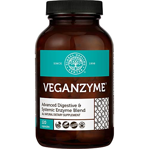 Global Healing Center Veganzyme, Advanced Natural Vegan Digestive & Systemic Enzyme for Healthy Digestion, Immune System, and Functional Balance (120 Capsules)