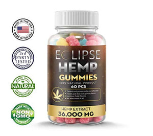 Hemp Gummies - 36,000 MG (60 Count) - 600 MG Per Gummy Bear with Hemp Extract - Natural Pain, Anxiety & Stress Relief - Made in USA - by Eclipse Hemp