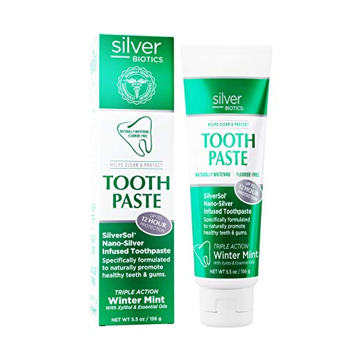 American Biotech Labs - Silver Biotics - Tooth Paste - SilverSol Nano-Silver Infused Toothpaste - Naturally Whitening, Helps Clean and Protect - Triple Action Winter Mint - 5.5 oz.