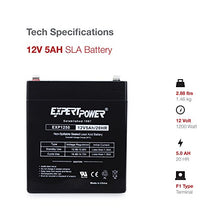 Load image into Gallery viewer, EXP1250 12V 5Ah Home Alarm Battery with F1 Terminals // Chamberlain / LiftMaster / Craftsman 4228 Replacement Battery for Battery Backup Equipped Garage Door Openers