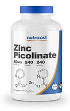 Load image into Gallery viewer, Nutricost Zinc Picolinate 50mg, 240 Veggie Capsules - Gluten Free and Non-GMO (240 Caps)