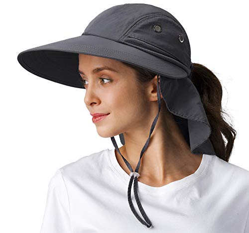 Womens Hiking Safari Sun Hats - Wide Brim Outdoor UV Protection Foldable Cap with Neck Flap