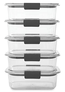 Rubbermaid Brilliance Food Storage Container, BPA free Plastic, Medium, 3.2 Cup, 5 Pack, Clear
