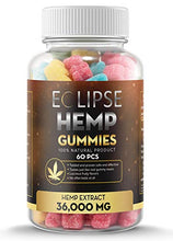 Load image into Gallery viewer, Hemp Gummies - 36,000 MG (60 Count) - 600 MG Per Gummy Bear with Hemp Extract - Natural Pain, Anxiety & Stress Relief - Made in USA - by Eclipse Hemp