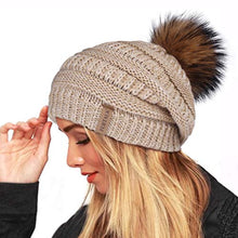 Load image into Gallery viewer, Winter Real Fur Pom Beanie Hat
