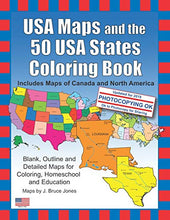 Load image into Gallery viewer, USA Maps and the 50 USA States Coloring Book: Includes Maps of Canada and North America