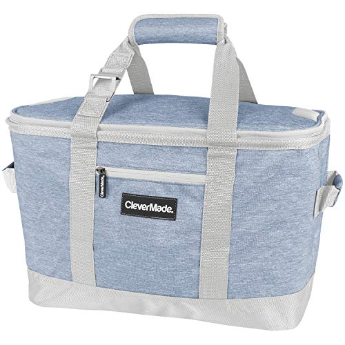 CleverMade Collapsible Cooler Bag: Insulated Leakproof 50 Can Soft Sided Portable Cooler Bag