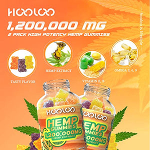 2 Pack Hemp Gummies, HOOLOO 1,200,000MG Vegan Fruity Hemp Gummy Bears for Relaxing, Sleep Better, Reduce Stress Anxiety, Natural Hemp Extract Gummies, Made in USA