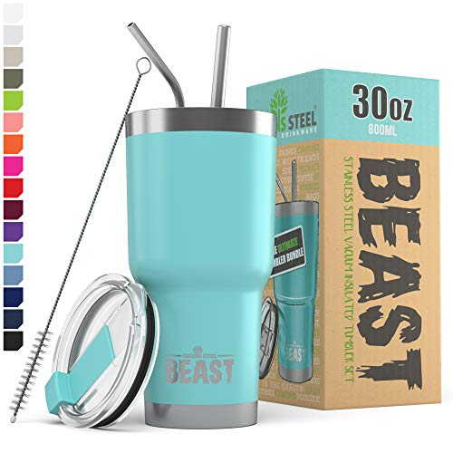 BEAST 30oz Teal Blue Tumbler - Stainless Steel Insulated Coffee Cup with Lid, 2 Straws