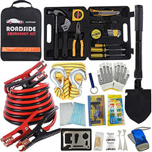 Load image into Gallery viewer, HAIPHAIK Emergency Roadside Toolkit - Multipurpose Emergency Pack Car Premium Road Kit Essentials Jumper Cables Set 11.8 Foot (Upgrade) Emergency Roadside Kit 124 Pieces