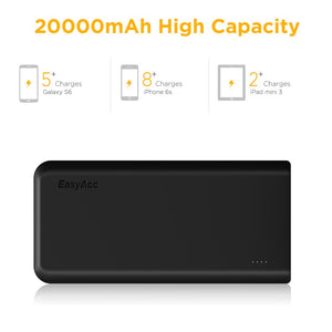 EasyAcc 20000mAh Portable Charger Fast Recharge External Battery Pack